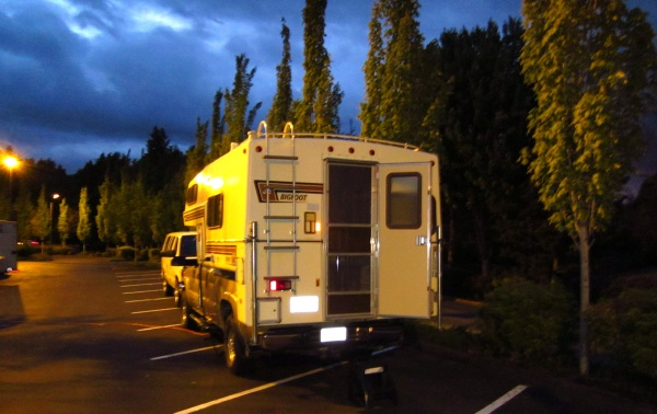 A truck camper is soooo versatile!  Plug in, do some work, cook some dinner, ...